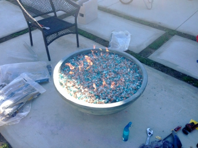 fire pit bowl with glass